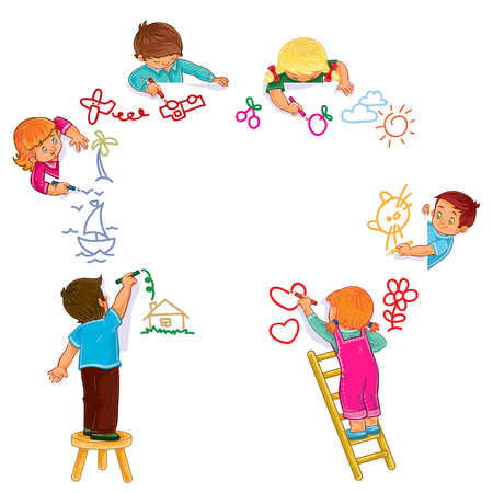 Vector illustration of little boys and girls draw with colored pencils. Print Illustration
