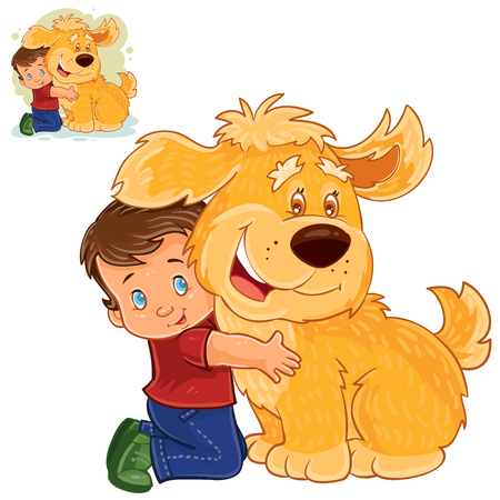 Vector illustration of a little boy sitting on his lap next to a big dog and hugging his hands.