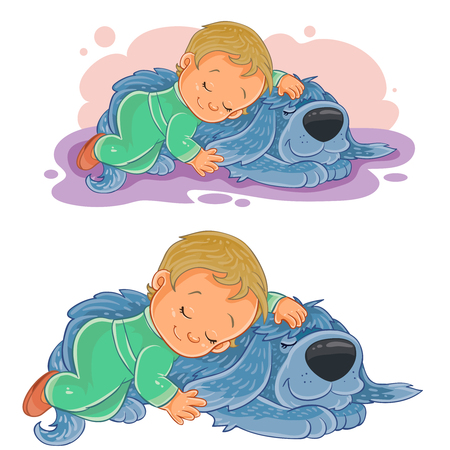 Vector illustration of a small child falling asleep using his dog instead of a pillow.