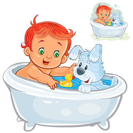 Vector illustration of a little baby taking a bath and playing rubber ducks together with his dog.