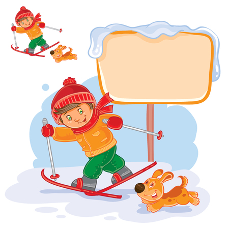 niños platicando: Vector winter illustration of a little boy skiing, next to him runs his dog. Vectores