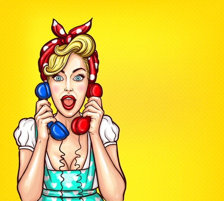 Vector pop art illustration of an excited surprised blond woman with a two telephone receiver in her hand. Illustration