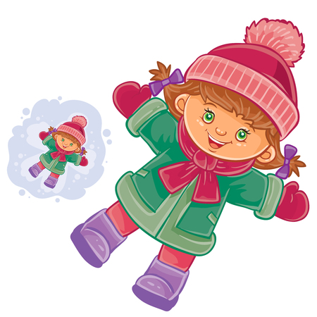 lies: Vector winter illustration of a little girl lies on the snow and makes a snow angel.
