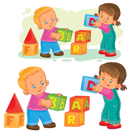 Vector illustration of a little girl and boy playing with cubes, older sister helping a younger brother build a tower of cubes. Illustration