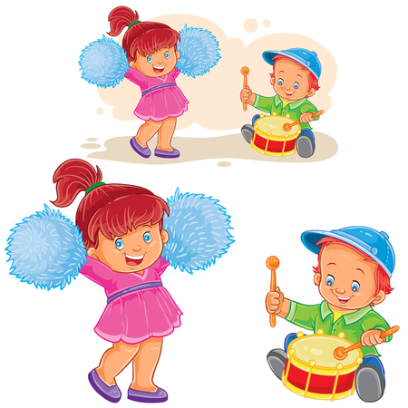 Vector illustration of a little boy knocking out a shot on the drum while a cheerful girl is dancing with pom-poms, a brother and sister are playing together.
