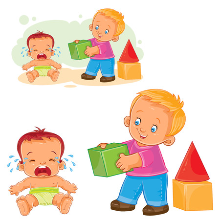 Vector illustration of a little baby crying while an older brother wants to comfort him and gives his cube.