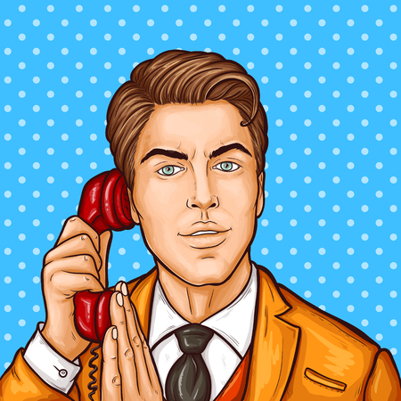 Vector pop art illustration of a businessman talking on a retro phone and covering a microphone with his hand. Illustration