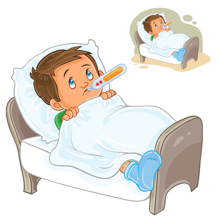 common cold: Vector illustration of a sick little boy lies in bed with a thermometer.