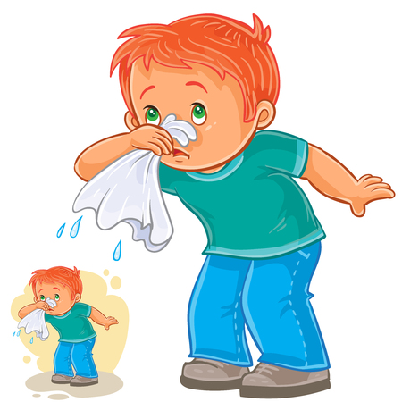 common cold: Vector illustration of a sick little boy blowing his nose in a handkerchief, respiratory allergy.