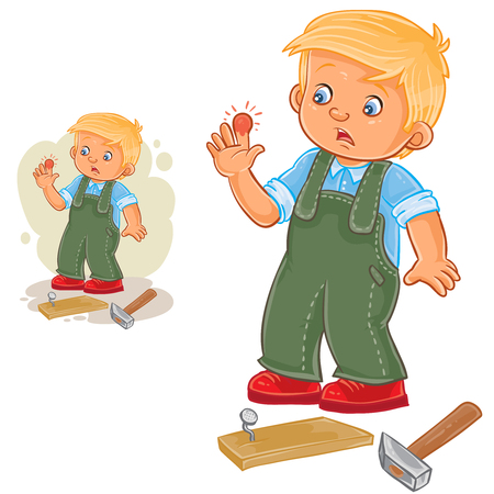 Vector illustration of a little boy hammering a nail and bruised finger.