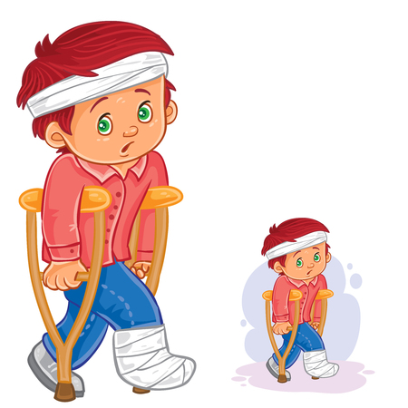 bruised: Vector illustration of a little boy on a crutch with a leg in a plaster and bandaged head.