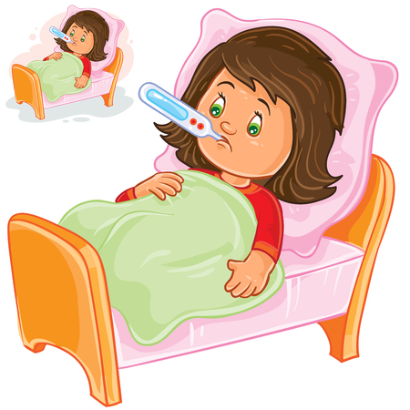 Vector illustration of a sick little girl lies in bed with a thermometer.
