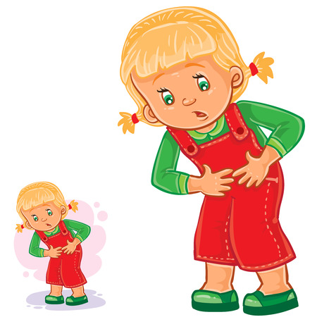 Vector illustration of a little girl with abdominal pain, gastritis, stomach ulcer, appendicitis, food poisoning. Illustration