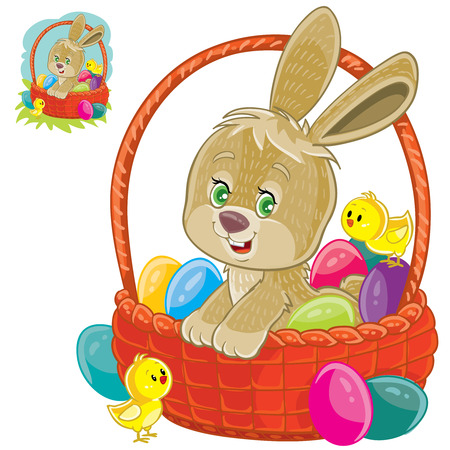 Vector illustration of an easter bunny sitting in a basket for easter hunting with decorated eggs and yellow chickens.