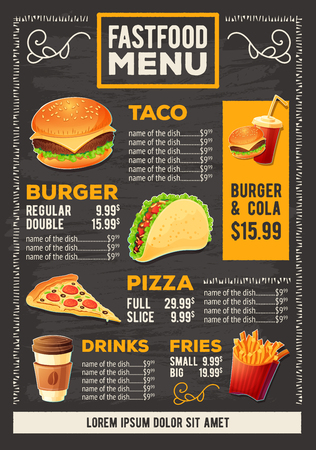 Vector cartoon illustration of a design fast food restaurant menu. Cartoon creative template, flyer, brochure. 일러스트