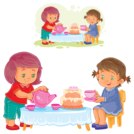 Vector illustration of two little girls are drinking tea with a cake. Illustration