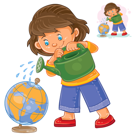 Vector illustration of a little girl watering a globe from a watering can. The concept of environmental protection.