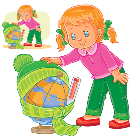 Vector illustration of a little girl measuring the temperature of a globe and dressing it in warm clothes, concept of environmental protection.