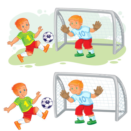 Vector illustration of two little boys playing soccer. Goalkeeper stands at goal and prepares to catch the ball. Ilustração