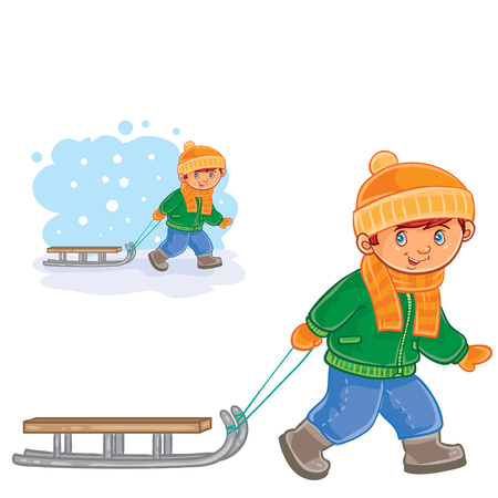 Vector winter illustration of a little boy pulling a sledge behind him. Иллюстрация