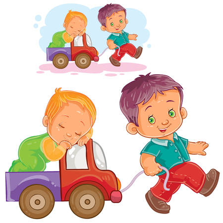 Vector illustration of two young boy playing together, older brother rolls a sleeping younger brother by car. Illustration