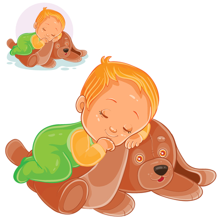 Vector illustration of a little baby asleep on a plush dog.