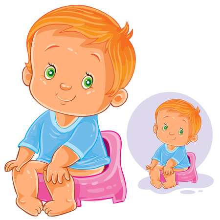 Vector illustration of a little baby sitting on a pot.