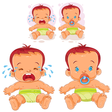 sucks: Vector illustration two baby in diapers - one cries, the other sucks a pacifier.