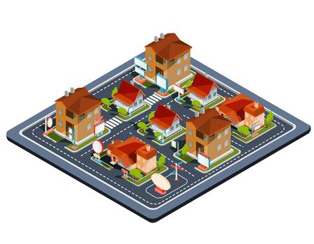 Vector isometrisch illustratie woonkwart met pictogrammen van woonhuizen, plattelandshuisjes met garage, werf, groen gazon voor reclamefolders van onroerende goederen