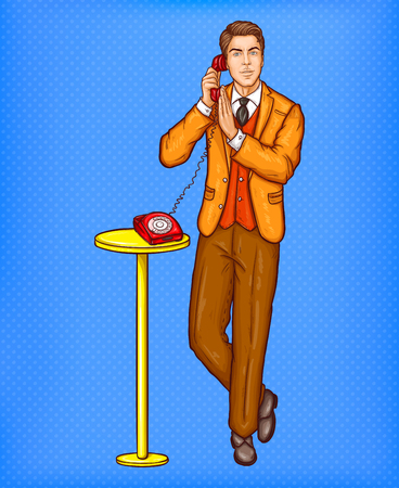 Vector pop art illustration of a man talking on a retro phone and covering a microphone with his hand