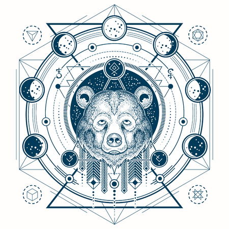 Vector illustration of a front view of a bear s head, geometric sketch of a tattoo, print with moon phases. Abstract ethnic tribal pattern. Illustration