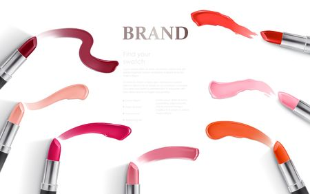 Vector illustration of a realistic style design of lipstick packing and lipstick smear samples. Excellent advertising poster for promoting of makeup premium product
