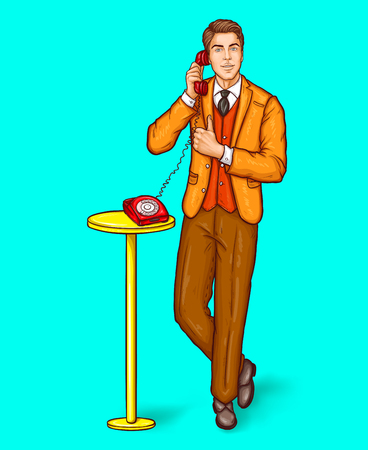 Vector pop art illustration of a man talking on a retro phone and and shows the thumbs up.