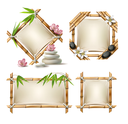 Set of vector illustrations of bamboo frames of various shapes with paper in realistic style isolated on white