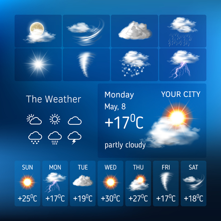 Vector illustration of realistic weather symbols, design for a mobile application weather forecast , a widgets layout of a meteorological application
