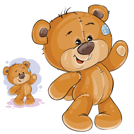 Vector clip art art illustration teddy bear waving its paw. Print, template, design element Vettoriali