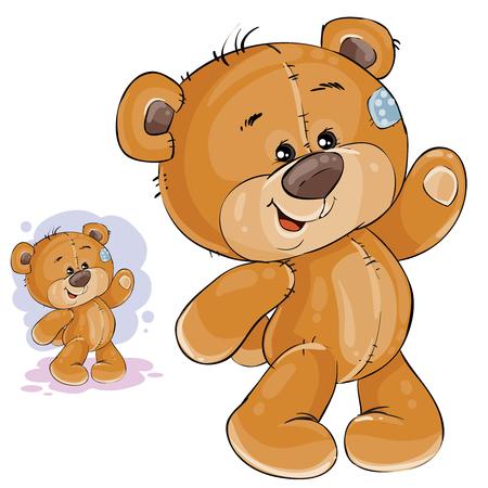 Vector clip art kunst illustratie teddy beer zijn poot zwaaien. Print, sjabloon, ontwerpelement Stock Illustratie
