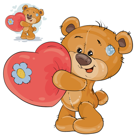Vector illustration of a teddy bear holding a red heart in his paws, confessing to love. Print, template, design element