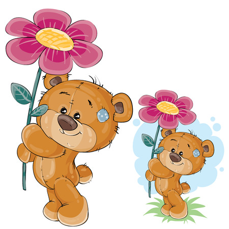 Vector clip art art illustration of a teddy bear holding a pink flower in the paws. Print, template, design element