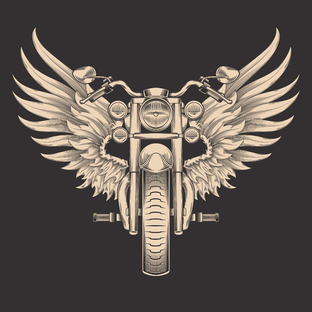 Vector monochrome illustration of motorcycle with wings. Design element for the advertising poster, sketch for the tattoo, print for the t-shirts Ilustração