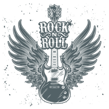 rock guitarist: Vector monochrome illustration of an electric guitar with wings. Design element for the advertising poster of the rock festival, sketch for the tattoo, print for the t-shirts