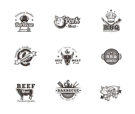 meat chopper: Set of black grill and barbecue badges, stickers, emblems isolated on white