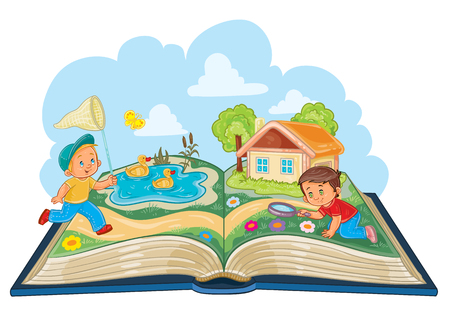 illustration of young children studying nature as an open book