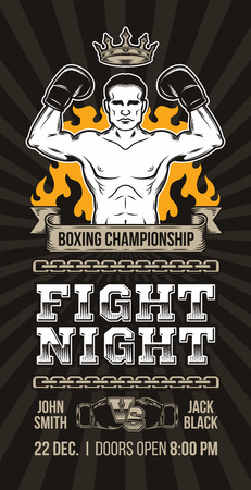 illustration of a banner, poster announcement boxing championship Stock Photo