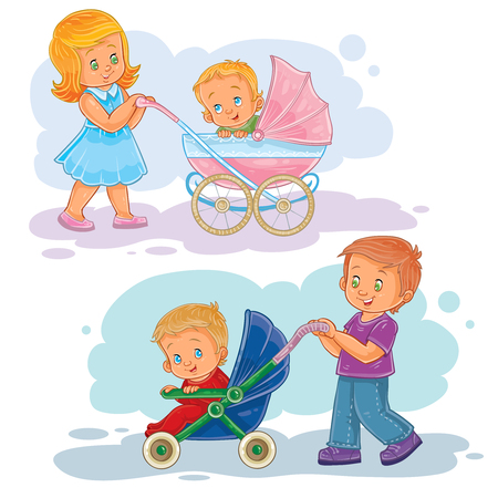 Set of clip art illustrations older brother and sister wheeled baby carriage, stroller with kids Stock Photo