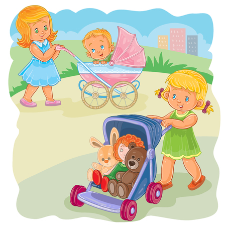 illustration of an older sister rolls the baby carriage with the kid, younger sister rolls the stroller with her toys Stock Photo