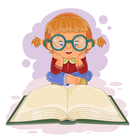 illustration of small with glasses reading a book