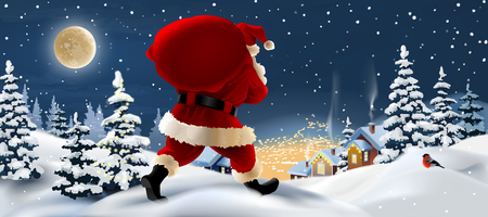 background winter landscape with Santa Claus in the foreground. Greeting card with snowy Christmas night. Stock Photo