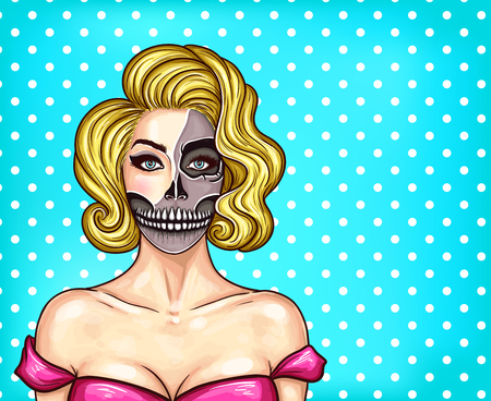 Vector illustration of a young beautiful girl with makeup in pop art style. Make-up imitating bare face skull, skeleton face, great for Halloween Illustration