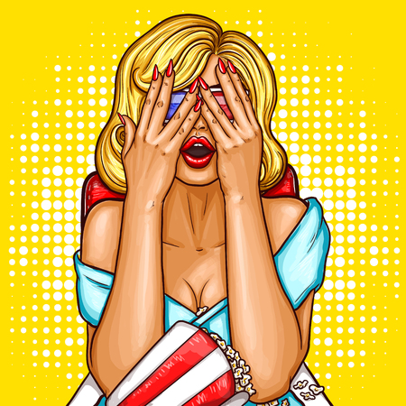 viewer: Vector pop art illustration of a excited blond woman sitting in ciema chair, watching on the movie screen and covering her face with her hands